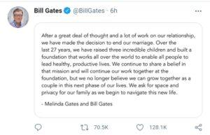 Bill Gates Divorce Tweet